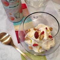 フルーツとハーブのお酒「香る白桃と杏仁」とオリーブオイルアイスとのペアリング。