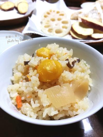 【今日の献立】栗ごはんと米粉で野菜の天ぷら♡そろそろクリスマスコフレ