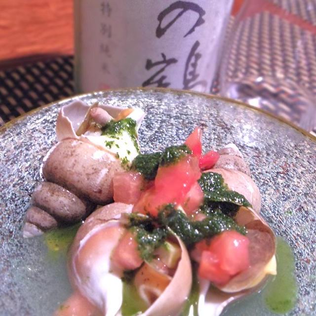 つぶ貝の大葉ジェノベーゼ、鰹の葉にんにくなめろう、鰹とトマトの冷製パスタ