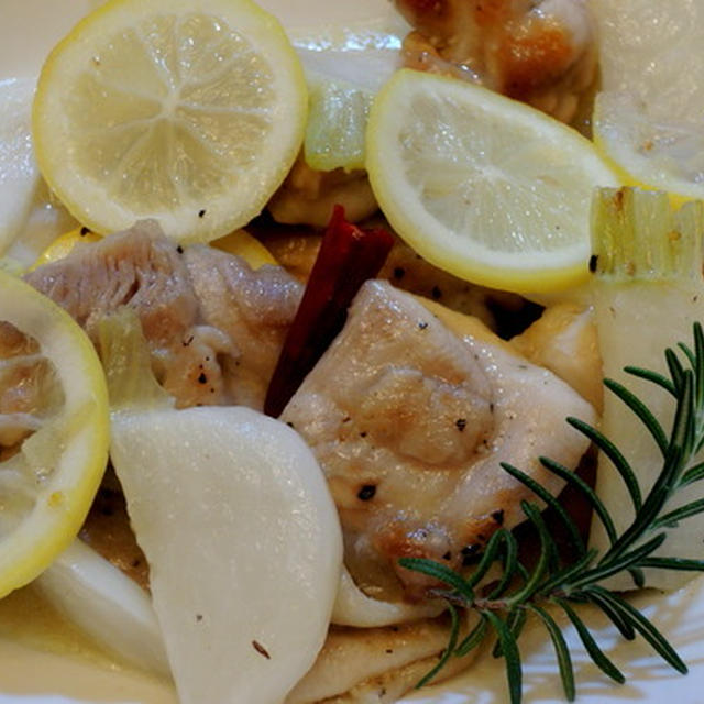 鶏もも肉と蕪を爽やかなレモンで☆鶏もも肉と蕪のレモン煮♪