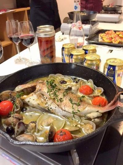 ブランデーアクアパッツァでボジョパ、フルブラパ・しんがり料理教室