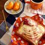 朝ごはん*りんごとハム乗せトースト、朝のバタバタ・・
