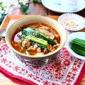 さっと煮るだけのごちそう元気スープ! たっぷりニラとふんわり豚そぼろのスープ。