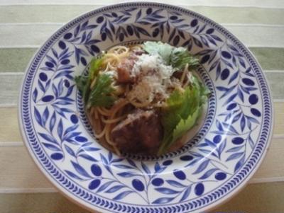 豚肉のすし酢煮パスタ