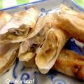 春巻きの皮で簡単おやつ♪りんごとバナナのクレープ包み焼き