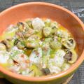 鮭の白子とマッシュルームのアヒージョ。もちもちむっちり、お得な旬の味を使ったおつまみ。