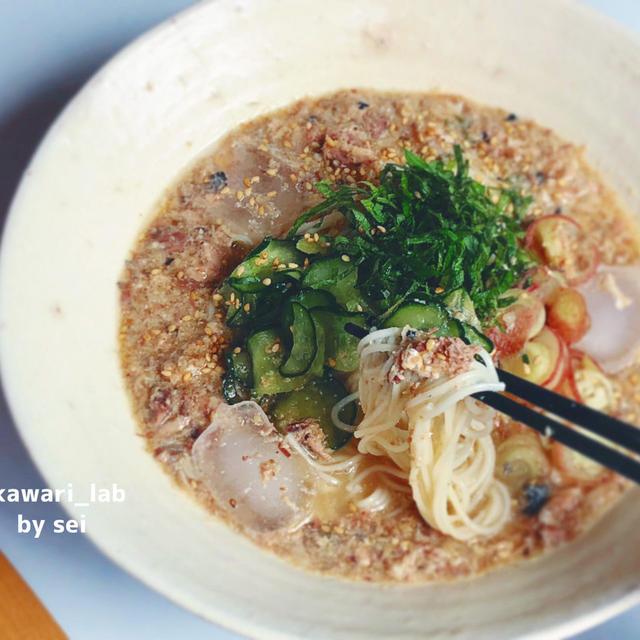 sei【簡単にすぐ出来る!これおすすめ!鯖缶!】◎サバの冷や汁仕立て素麺