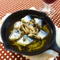 秋の味覚♪ 秋刀魚とキノコのアヒージョ【レシピ】