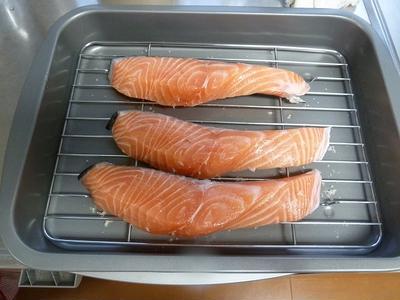 生鮭の塩昆布&塩麹照り焼き♪