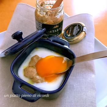 モッツァレッラと白トリュフペーストの濃厚ココット卵