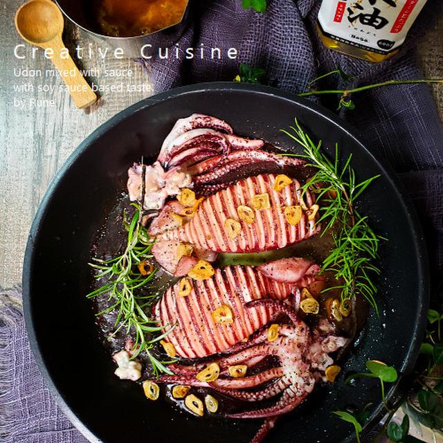 イカステーキ&イカワタソースのボーソー米油アヒージョ