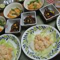 海老マヨ、茸のホイル焼き、豆苗と玉ねぎ天の煮付け、ひじきの煮付け
