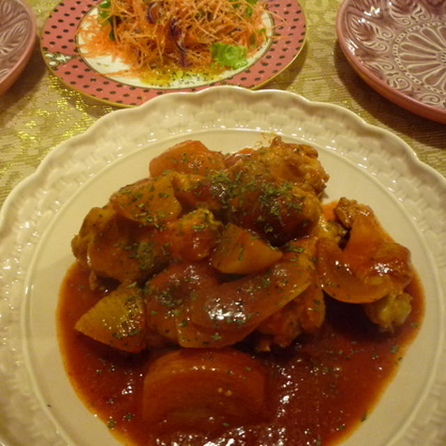 鶏とカブの濃厚トマト煮込み