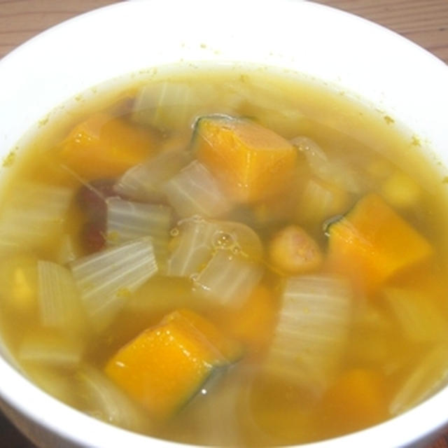 かぼちゃとミックスビーンズのスープ