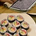巻き寿司の練習法、タオルハンカチを使う!