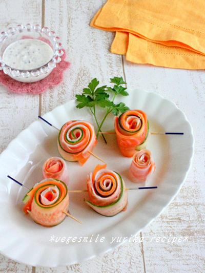くるくる!サーモンの野菜巻き~豆乳ヨーグルトソース~