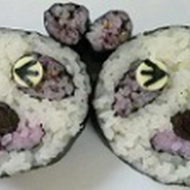 飾り巻き寿司 親パンダ 飾り巻き寿司レッスン5月 ばら 梅の花