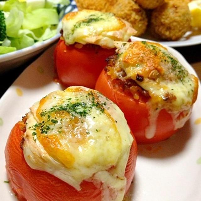 スタッフドトマトのチーズ焼きです☆