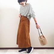 GU コーデュロイフロントボタンスカート☆
