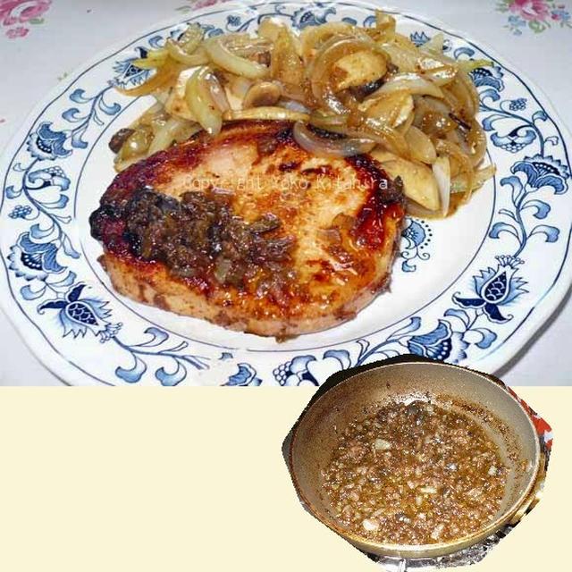 デイリー・レシピ~ハムステーキ、黒オリーブとバルサミコ酢のソース R#043