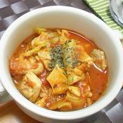 春キャベツと鶏肉のトマト煮込み*バジル風味*