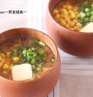 レシピ【便秘解消に!!きのこのコーンバター味噌汁】&花粉症は(・・?
