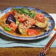 トマトと茄子の肉味噌炒め