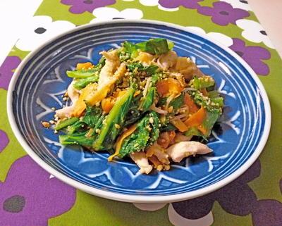 鶏肉とロメインレタスのオイマヨ炒め
