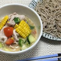 (レシピ)豚しゃぶ入り夏野菜たっぷり冷や汁DEつけそば