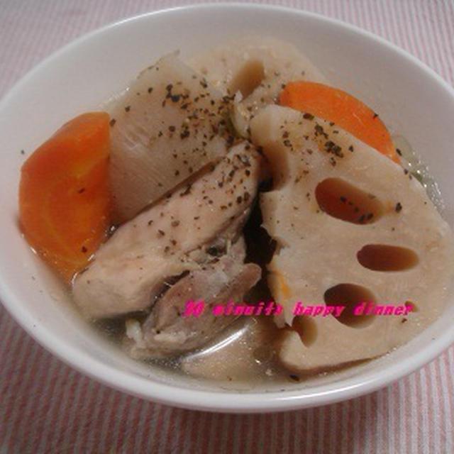 簡単!ほくほく蓮根とホロホロ鶏のスープ