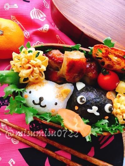 トースターで簡単☆タンドリーチキンと猫おにぎり弁当