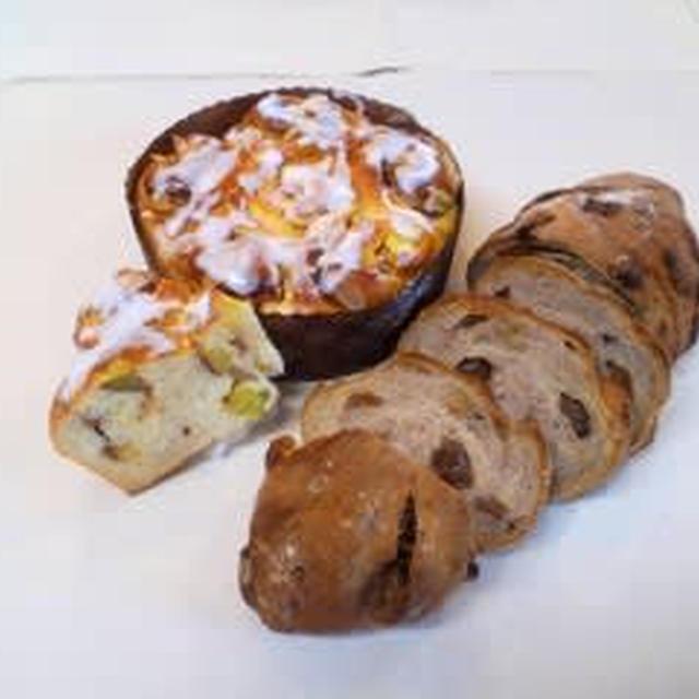 「イチジクとクルミのライ麦入りパン」と「リンゴとサツマイモのフラワーパン」