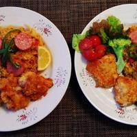 チキンのパン粉焼きと炊飯器deバレンシア風パエリアワンプレ♪~♪