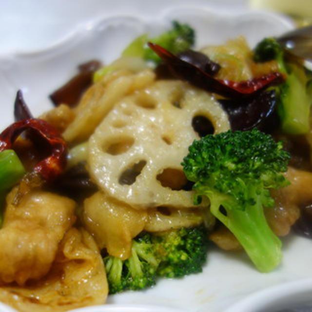 鶏と蓮根のピリ辛甘酢炒め/中華ポタージュ