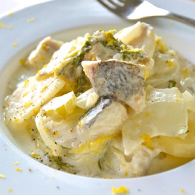 #459 鱈と白菜とネギの柚子クリーム煮