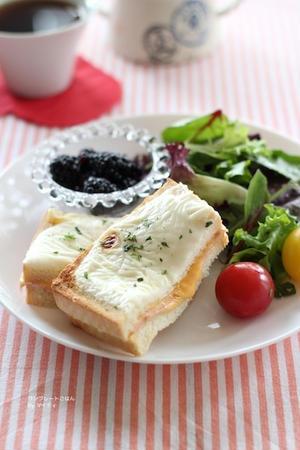 """ハムとチーズを挟んだパンをトーストしたサンドイッチにベシャメルソースを塗った""""クロックムッシュ""""は、..."""