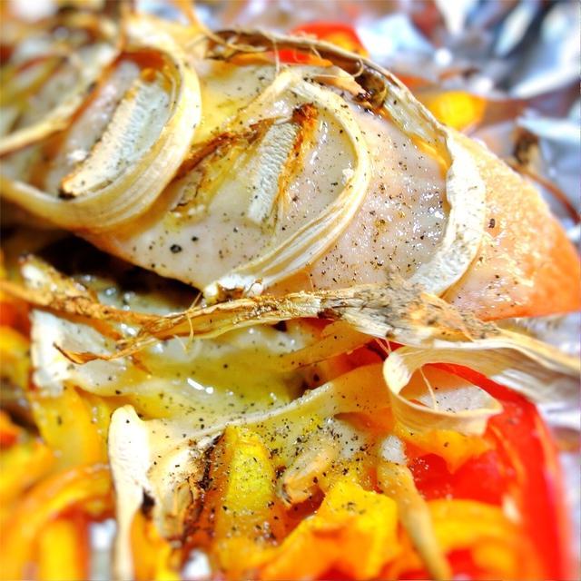 松茸と鮭のレモンカスタード焼き