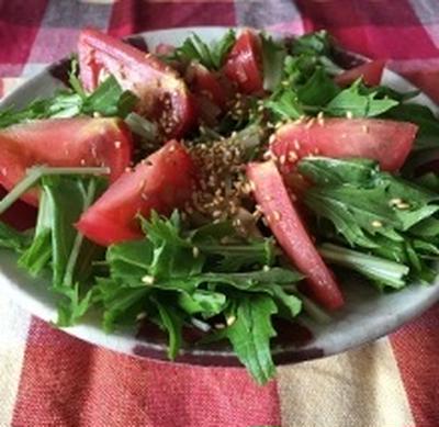 めんつゆと胡麻油を使った水菜とトマトのサラダ