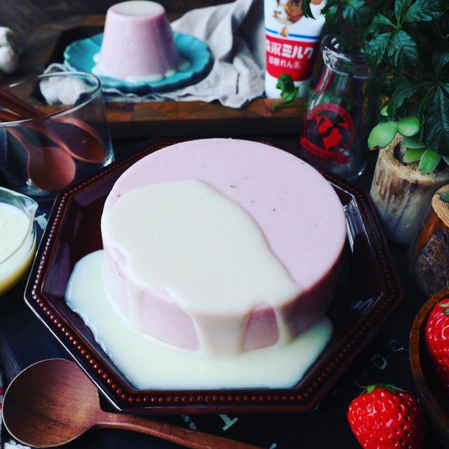 混ぜて冷やしてめちゃ簡単❤️ひな祭りにもおすすめな♪とろける練乳いちごぷりん❤️