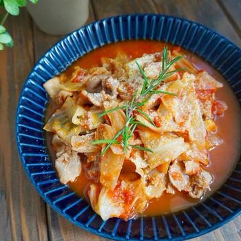 牛肉とキャベツのトマト煮*お盆の、おもてなしごはん