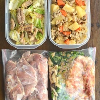 主菜を4品(半調理品2品含む)作り置き~煮物をコトコト煮る間に、他のをチャチャっと。