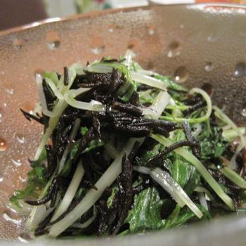 水菜とひじきの温サラダ