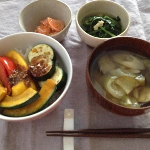 グリル野菜のピリ辛タレ丼のお夕飯