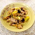 豚肉とリーキとしめじの醤油焼き