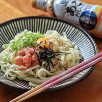明太釜玉うどんレシピ