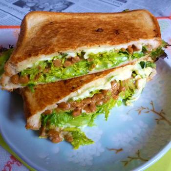 納豆+わさび菜のホットサンド