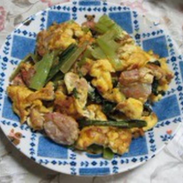 海老と小松菜の卵とじ
