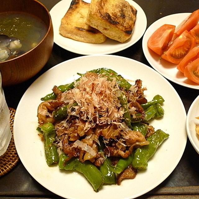 豚肉と青とうがらしの炒め
