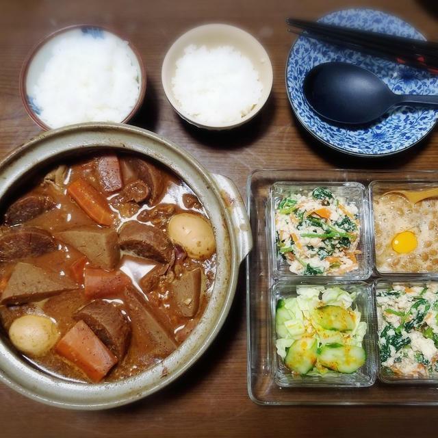 【家ごはん/献立】 味噌おでん風☆ もつ煮込み [レシピ] ほうれん草の白和え / 豚モツと大根の味噌煮込み