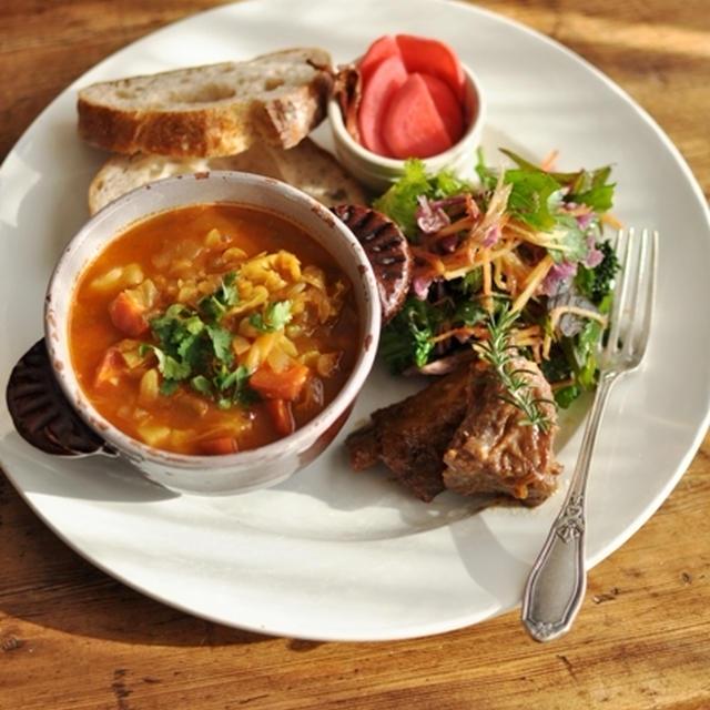 冬の具だくさん野菜スープ ~モロッコ・ハリラ風~ & スペアリブの金柑マーマレード煮 のプレートごはん  と  最近のお弁当